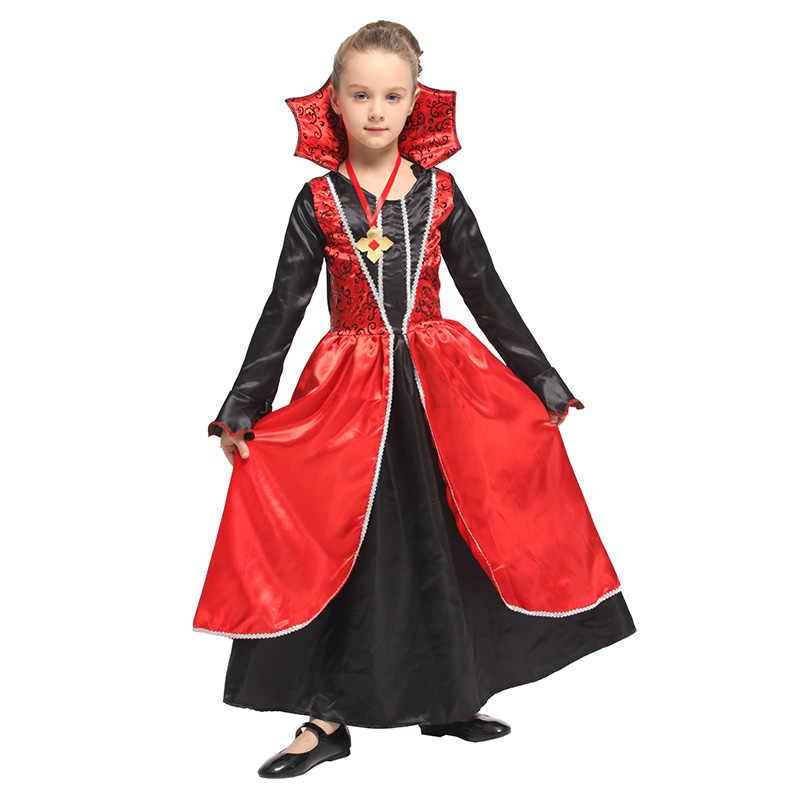 Huihonshe Baru Anime Vampire Gaun untuk Anak-anak Kostum Halloween Karnaval Kostum untuk Anak Pesta Cosplay Gadis Penyihir