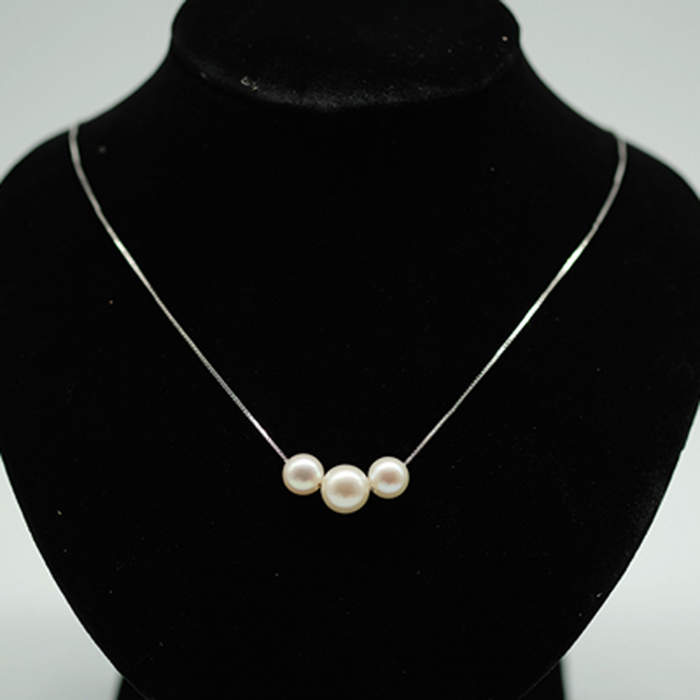 Fashion three Pearls Necklace 925 Sterling silver women pendant Dress Accessories Freshwater Jewelry Plump Pearl Necklace Chain