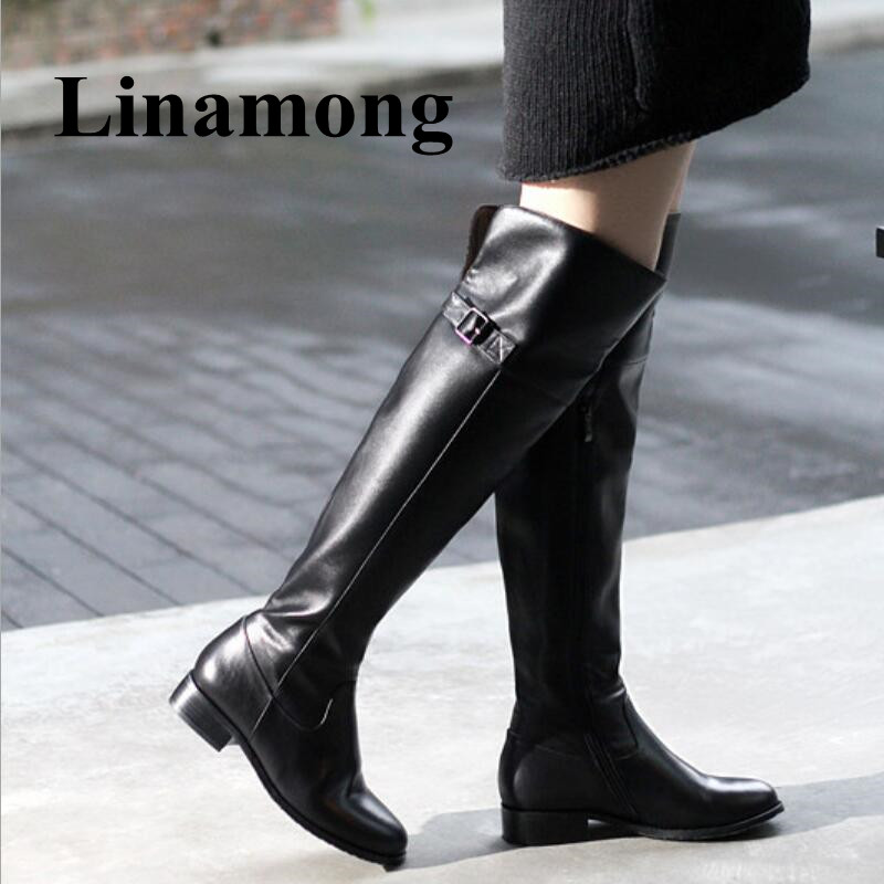 Winter Newest Fashion Over The Knee Round Toe Flat Heel Buckle Desgin Long Boots Side Zipper Two Color High Quality Women Boots double buckle flat heel zipper boots