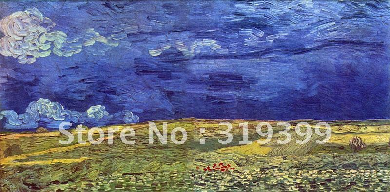 Vincent Van Gogh Famous Oil Painting,Wheat field Under Clouded Sky,100%handmade,Free DHL Shipping