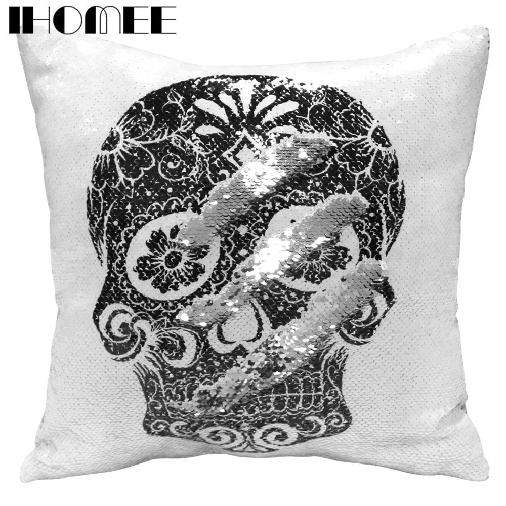 IHOMEE Skull Cushion Cover for Chair Sequin Pillow Case Decorative Pillow Cover for Sofa Home Decor Drop Shipping ...