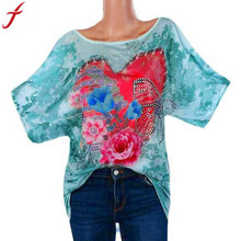 d292554ee51 5XL Plus Size Summer Tops 2018 Fashion Womens Rhinestone Love Butterfly  Print Tunic Shirt O-