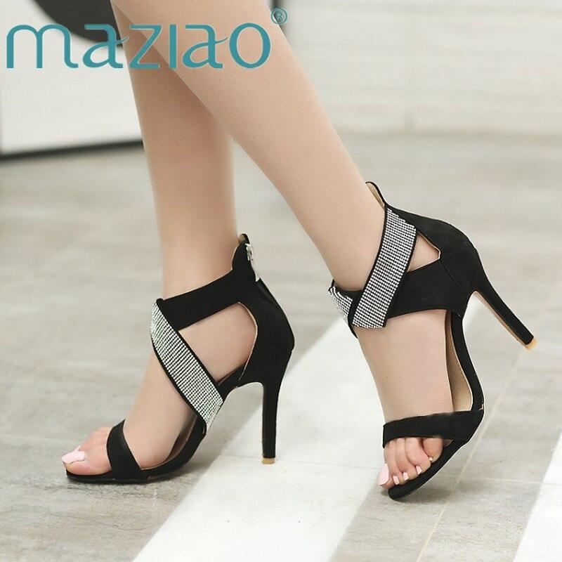 e4738160cdb MAZIAO Gladiator Bling Sandals Women High Heels Fashion Crystal Party  Zipper Shoes Summer Thin Heel Red Cross-Strap Ladies Pumps