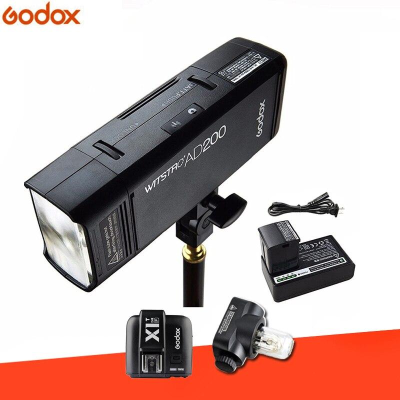 GODOX AD200 TTL 2.4g HSS 1/8000 s Tasca Flash di Luce Doppia Testa 200Ws con 2900 mah Al Litio batteria Strobe Flash + Flash trigger