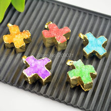 24 kt. Gold Color Cross Stone Charms Pendant in Mixed colors Jewelry making(China)