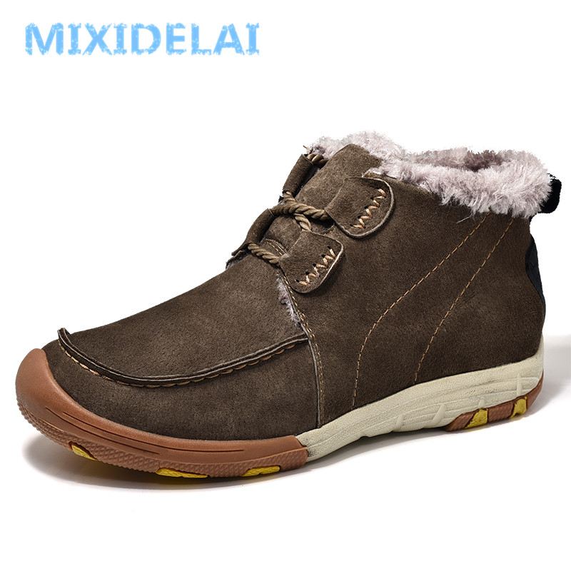MIXIDELAI 2018 New Winter Fur Warm Snow Boots For Men Sneakers Male Cow Suede Leather Casual Shoes waterproof Adult Ankle Boots zenvbnv winter leather men boots work casual boots men keep warm shoes male rubber snow cow suede leather ankle boots for men