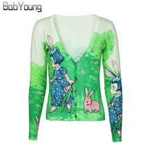 BabYoung 2017 Autumn Women Cardigans Cartoon Rabbit Pattern Sweater Lovely Christmas Sweater Cashmere Sweater Women Pull Femme