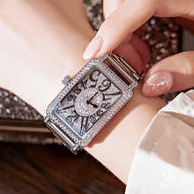 2019 Top Luxury Ladies Watch Women Fashion Rose Gold Quartz Dress Watch New Rhinestone Square Casual Women Watches reloj mujer - DISCOUNT ITEM  89% OFF All Category