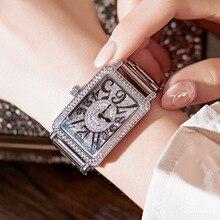 Reloj cuadrado de lujo para mujer, cuarzo rosa dorado, con diamantes de imitación, informal, 2019