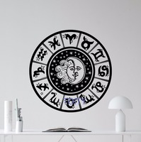 Dierenriemtekens Muurtattoo Zon Maan Sky Stars Vinyl Sticker Art Decor Muurschildering H57cm x W57cm