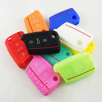 Ceyes Silicone Car Styling Cover Case For Skoda Octavia A5 Fabia Superb Yeti Rapid Citigo 3 Buttons Fold Accessories Car-Styling