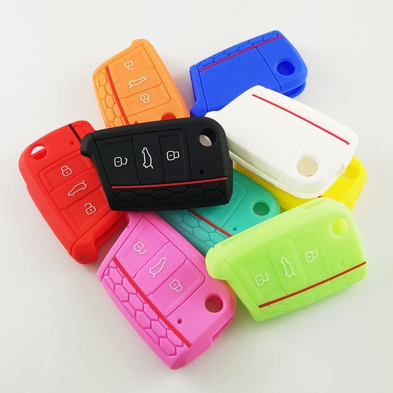 Ceyes housse de protection en Silicone pour voiture Skoda Octavia A5 Fabia superbe Yeti Rapid Citigo 3 boutons accessoires de pliage de voiture