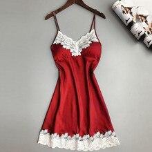 Женское сексуальное белье, шелковая ночная рубашка, летнее платье, кружевное Ночное платье, ночная рубашка, ночная сорочка, атласная Домашняя одежда, ночная рубашка