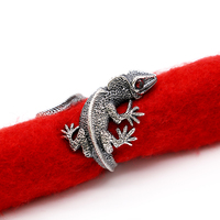 100% 925 Silver Rings for Men Lizard Shape Punk Jewelry Vintage Style Silver Open Size Ring High Quality Jewelry Casual Bijoux