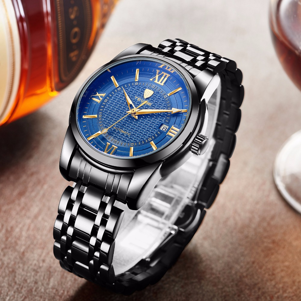 TEVISE Men Automatic Self-Wind Watch Black Stainless Steel Auto Date Fashion Casual Skeleton Wristwatch T805A with bracelet tool tevise men automatic self wind gola stainless steel watches luxury 12 symbolic animals dial mechanical date wristwatches9055g
