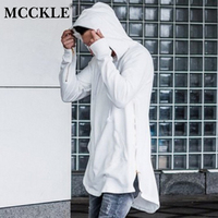 MCCKLE Britse Stijl Mens Hooded T-shirt Hipster Hiphop Streetwear Gold Side Rits 2018 Mannen Extended Arc Cut Lange Mouw Tees