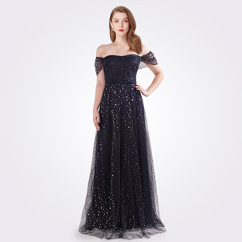 2019   Prom     Dresses   Long EB07615NB Women's Fashion Navy Blue A-line Tulle Vestidos   Prom   New Sparkle Sequined Party Evening Gowns