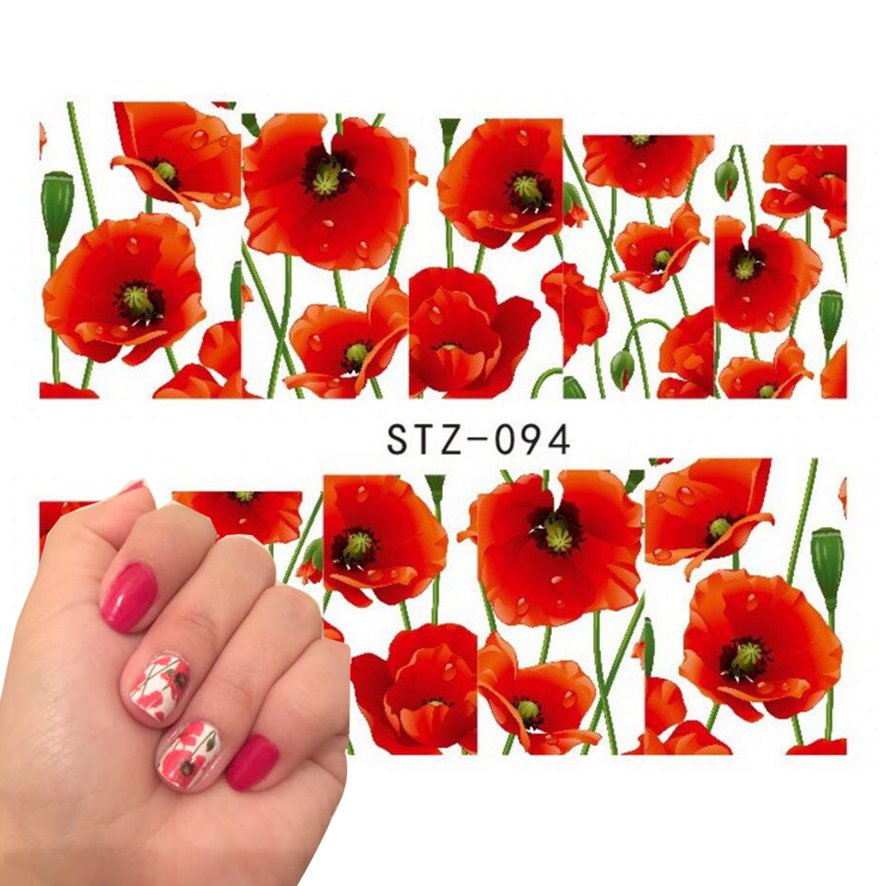 1 sheet Charming Nail Decals Full Wraps Flowers Water Transfer Nail Stickers Decorations DIY Watermark Manicure Tools SASTZ094 1 sheet sexy red rose water transfer nail art stickers decals decorations diy watermark wraps manicure tools sastz 073