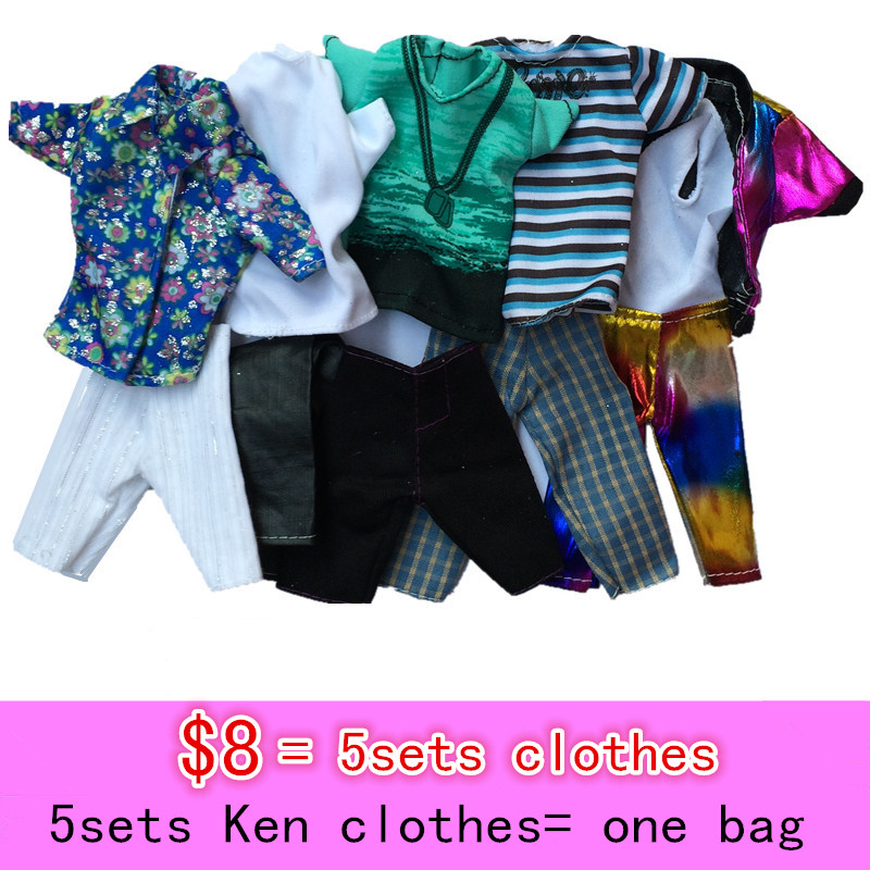 2016 new 5 units clothes set for barbie Ken, garments for barbie doll,doll informal garments let loose transport