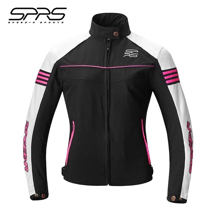 Free shipping 1pcs 2018 Hot Sale SPRS Womens Slim Motocross Jacket Coat Zipper Waterproof Warm Motorcycle Jacket with 5pcs pads
