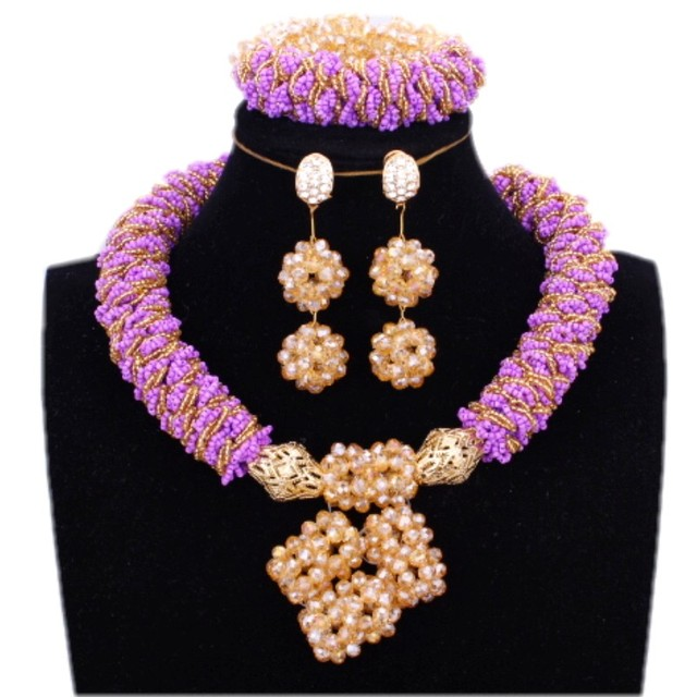 Wedding jewelry Set African Beads Necklaces for Women Purple and Gold Dubai Jewelry Set Bold Balls Jewellery set Free Ship 2018
