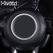 Hivotd for Mazda CX-3 CX3 accessories steering wheel trim circle Stickers sequins cover interior Moldings ABS chrome decoration fit for citroen c5 aircross interior steering wheel moulding sequins abs chrome decoration cover 2pcs