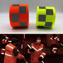 3M Fluorescent yellow/Fluorescent orange Oxford Warning Tape with Small Square  for Safety Clothes