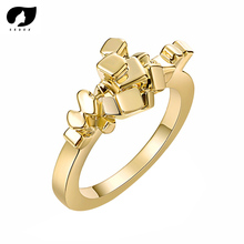 SEDEX 2019 Hot Sale Golden Color Geometric Mini Cubes Shaped Punk Rings for Women Fashion Trendy Party Lady Girls R411
