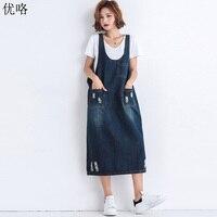 2019 Summer New Korean Sleeveless Long Denim Dresses Women Plus Size Jeans Strap Dress Loose Casual Denim Overall Dress Female