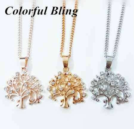 2017 New Fashion Tree Of Life pendant Necklace Silver Rose Gold Color Crystal family Tree Necklaces & Pendants Women Jewelry