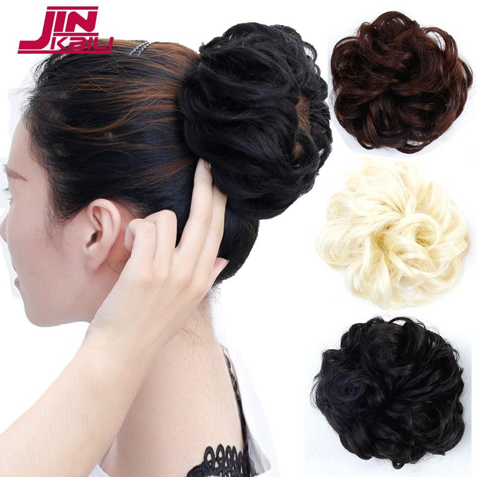 JINKAILI WIG Synthetic Bun Hair Ribbon Ponytail Hair Extensions Wavy Curly Extensions Do ...