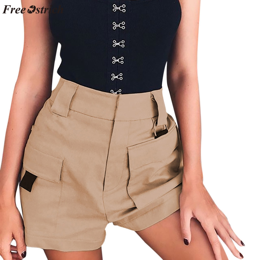 FREE OSTRICH Women Summer Fashion Casual   Shorts   High Waist   Shorts   Elastic Waist Pocket Loose Comfort Wide Legs Light Wash   Shorts