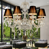 Retail Wholesale 8 Lights Modern Crystal Chandelier Lights Black Lampshade Candle Crystal Chandeliers Modern E14