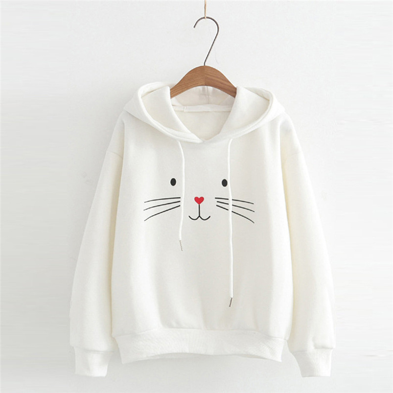 Katze Druck Frauen Sweatshirt Langarm 2018 Winter Pullover Lose Frauen Hoodies Sweatshirt Weibliche # S06
