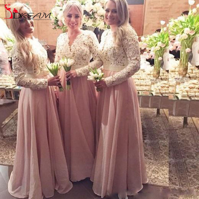 Chiffon Bridesmaid Dresses For Wedding Hollow Long Sleeves Lace With Pearls Beades Sash