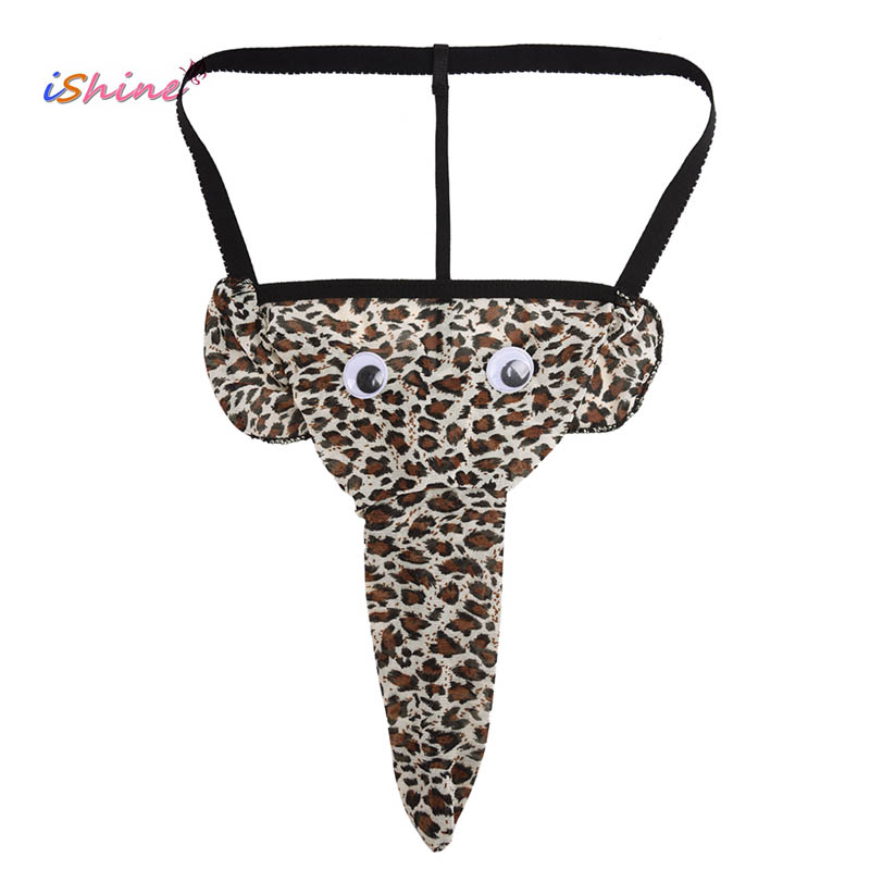Men's Sexy Lingerie Leopard Elephant Shape Design Thong T-back Panties Sexy Penis Pouch Funny Gay Underwear Briefs