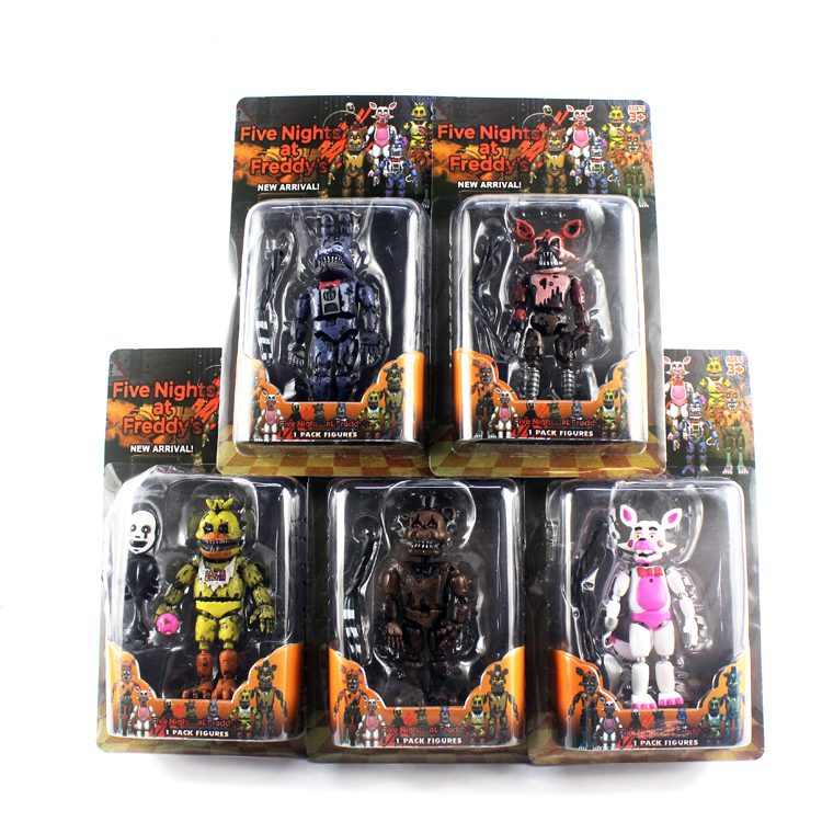 6 Pcs/set Lightening Movable Joints Five Nights At Freddy's Action Figure Toys Foxy Freddy Chica PVC Model Dolls With Kids Toys
