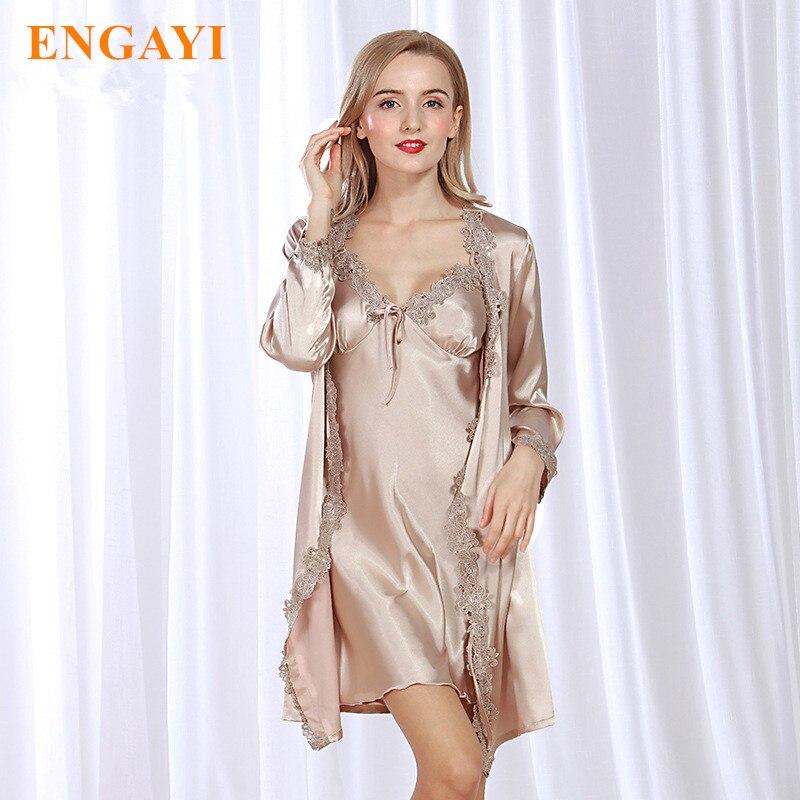 New Fashion Women Nightgown Night Dress Sexy Lace Nightdress Night Gown  Silk Satin Sleepwear Nightwear Robes Bathrobe Sets WP302 df593d1c77