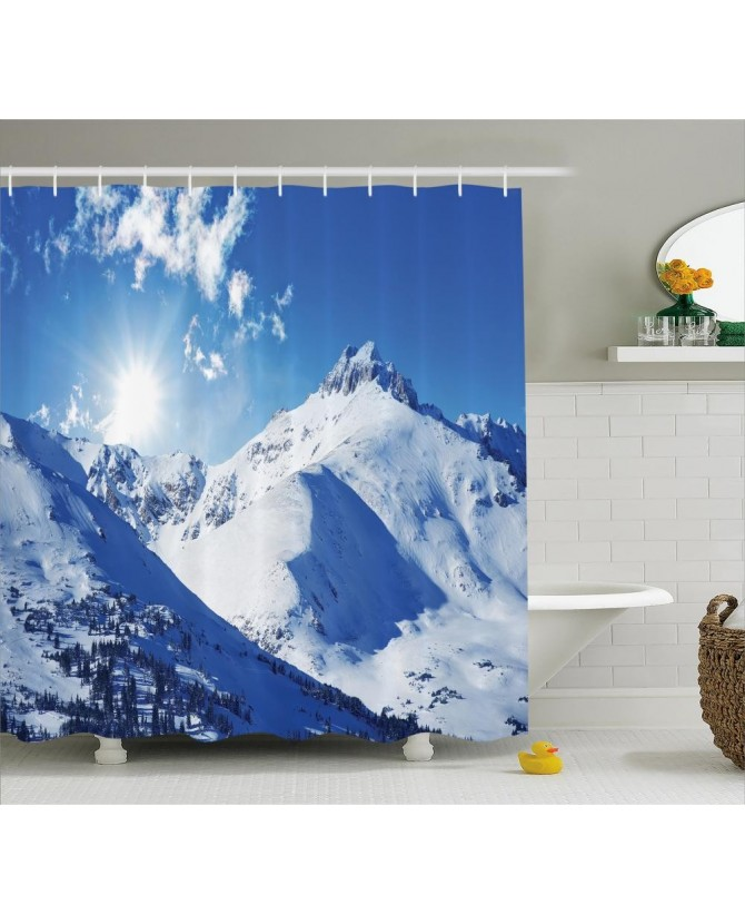 white shower curtain sunrise at mountain print for and fabric washable set with hooks