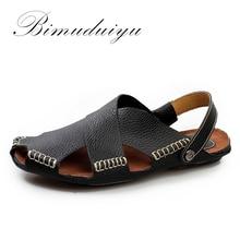 BIMUDUIYU Nueva Llegada Del Verano Sandalias de Cuero Suave Hecha A Mano de Cuero Genuino Casual Para Hombre transpirable Sandalia Diseño Simple