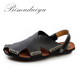Bimuduiyu summer new arrival soft leather beach sandals handmade genuine leather casual mens breathable sandal simple.jpg 250x250