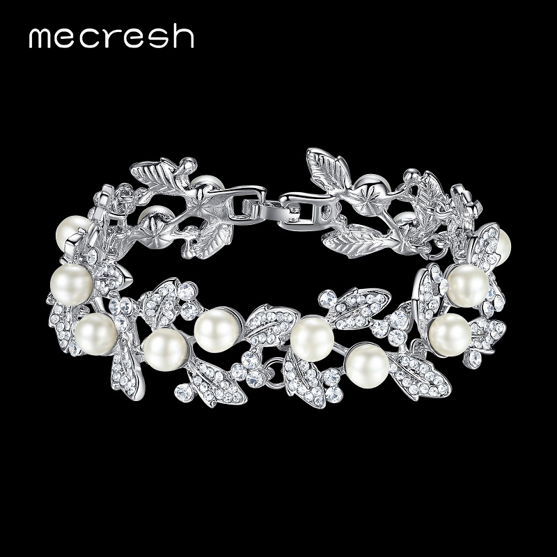 Mecresh Simulated Pearl Bridal Bracelets for Women Silver Color Crystal Friendship Bracelets & Bangles Wedding Jewelry SL089