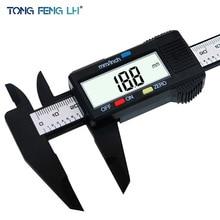 TONGFENGLH 150mm 6inch LCD Digital font b Electronic b font Carbon Fiber Vernier Caliper Gauge Micrometer