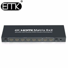 EMK 6x2 HDMI 1.4V Matrix Switch Splitter(6 in 2 out) with Remote Control SPDIF or 3.5mm Audio Out,Support 3D 1080p 4Kx2K