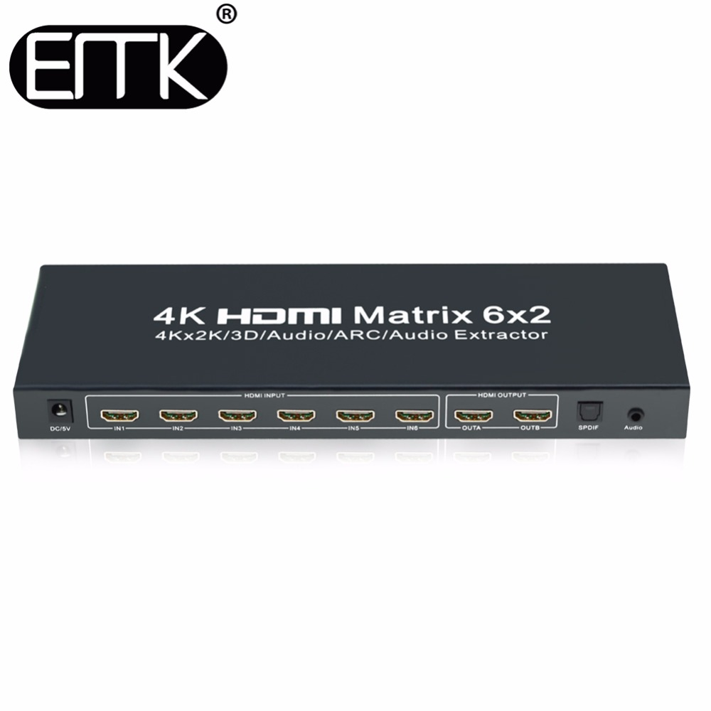 EMK 6x2 HDMI 1.4V Matrix Switch Splitter(6 in 2 out) with Remote Control SPDIF or 3.5mm Audio Out,Support 3D 1080p 4Kx2KEMK 6x2 HDMI 1.4V Matrix Switch Splitter(6 in 2 out) with Remote Control SPDIF or 3.5mm Audio Out,Support 3D 1080p 4Kx2K