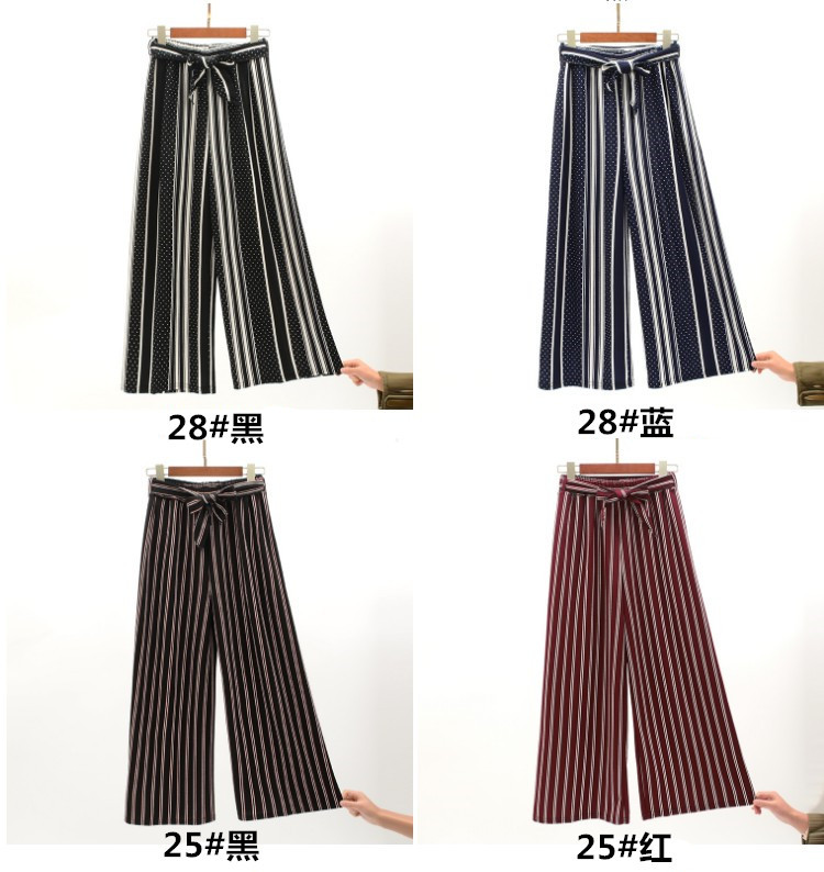 2019 Women Pants Summer New Striped High Waist Loose Pants Striped Straight Nine Pants Women 12