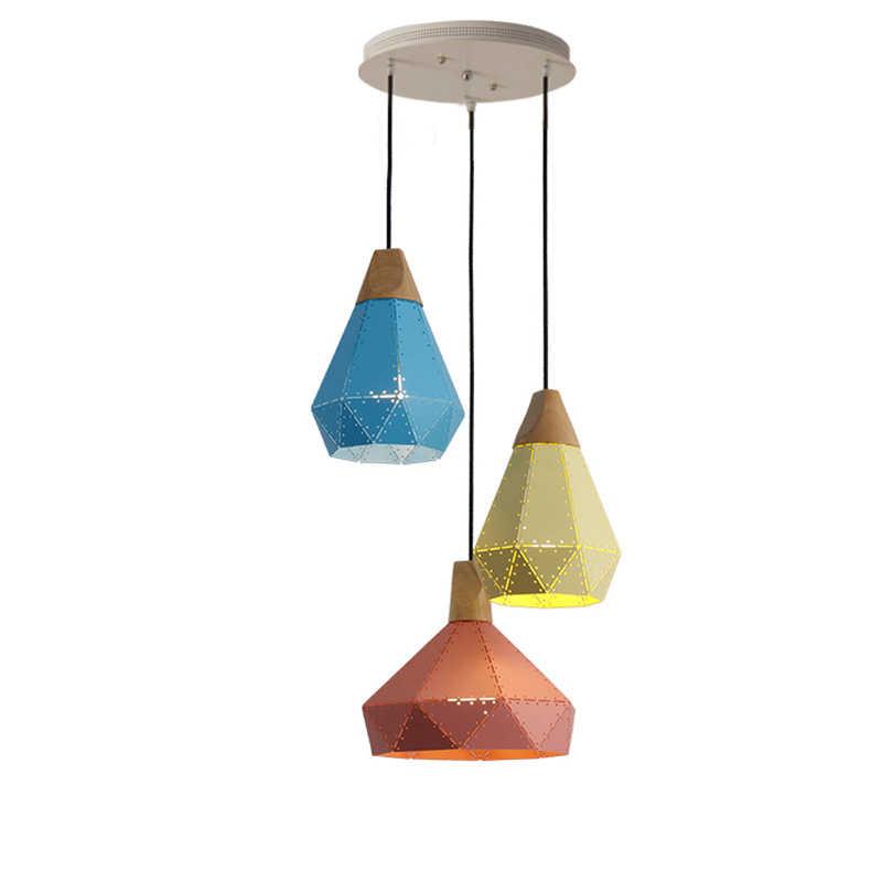 2017 Baru LED Modern Besi atau Kayu Diamond Pendant Light untuk Kamar Tidur Bar Cafe Lampu Gantung Biru Pink Kuning Abu-abu warna-warni Lustres