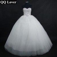 QQ Lover 2017 Heavy Hand Elegant Beaded Ball Gown Wedding Dresses Custom Made Vestido De Novia