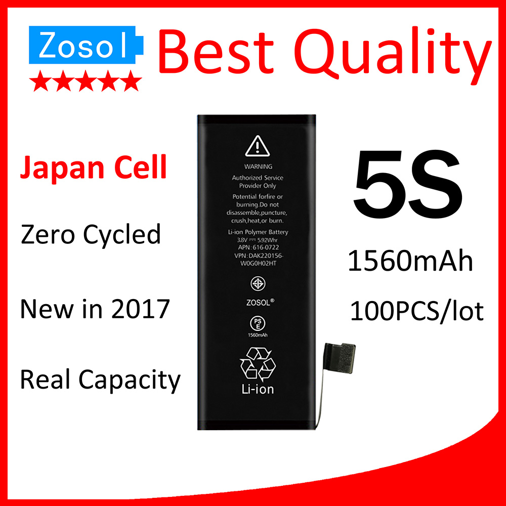 3324a8e10 100 unids lote calidad original 0 cero cycled la batería para el iPhone 5S  1560 mAh 3.7 V piezas de reparación del reemplazo