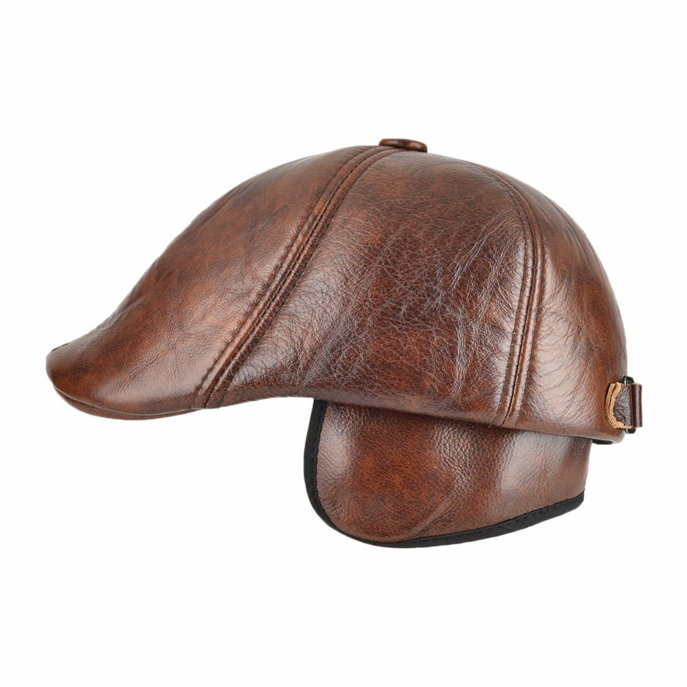 VOBOOM Genuine Leather Duckbill Flat Cap Six Panel Cabbie Gatsby Ivy Hat  Winter Ear Protection Boina 015-in Newsboy Caps from Apparel Accessories on  ... 6bbb3988424
